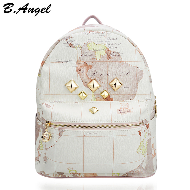 Designer backpack women high quality world map backpack rivet designer backpack women high quality world map backpack rivet leather men backpack fashion travel backpacks vintage gumiabroncs Image collections