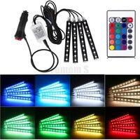 4*9 יחידות SMD 5050 רכב RGB LED רצועת 10 W רכב פנים אווירה דקורטיבית אור מקיר לקיר מסלול אוטומטי רצועת RGB שלט רחוק 12 V
