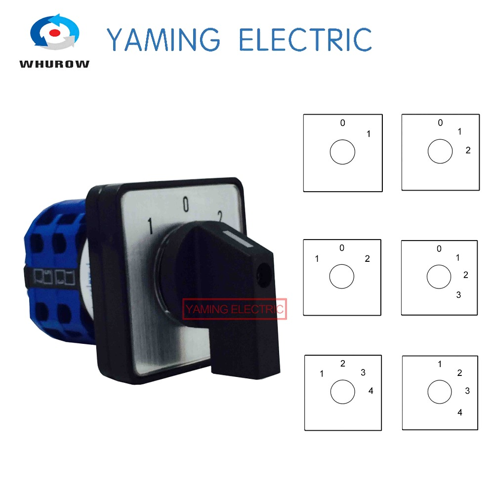lw28-20 lw26-20 ymw26 series electric 2/3/4 position 8 terminals rotary cam  changeover switch with screws useful tool 660v 20a