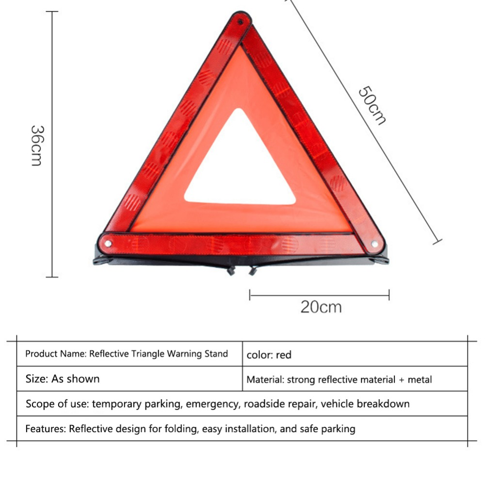Grebest Car Warning Sign Road Safety Warning Sign Car Vehicle Triangle Emergency Warning Reflective Foldable Safety Stop Sign Red