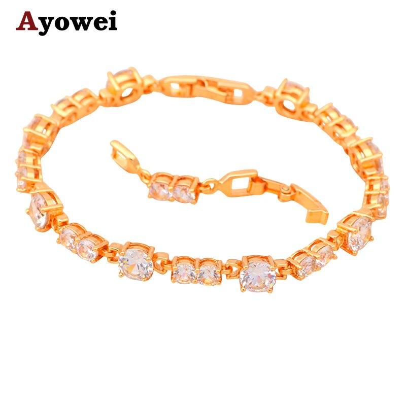 ᗐEnvío libre blanco Crystal & AAA ZIRCON oro color pulseras salud ...