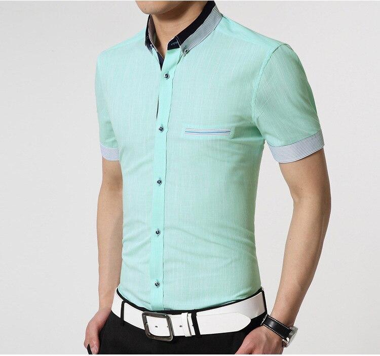 Para hombre de manga corta camisas de vestir 2015