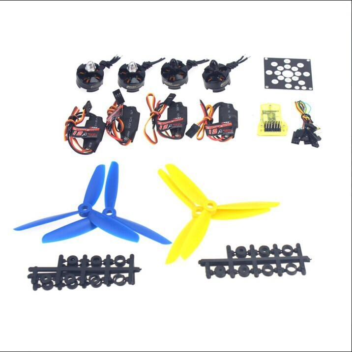 F12065-I RC Aircraft Kit KV2300 Brushless Motor + 12A ESC + Straight Pin Flight Control + FC5x4.5 Propeller for 250 Helicopter electronic components set kv2300 brushless motor 12a esc straight pin flight control open source for 250 helicopter f12065 b