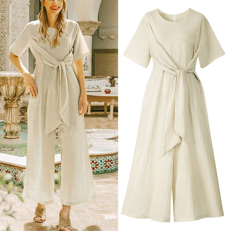Big Size Short Sleeve O Neck   Jumpsuit   Summer Solid Casual Loose Overalls For Women Bandage Belt Long Rompers Mujer