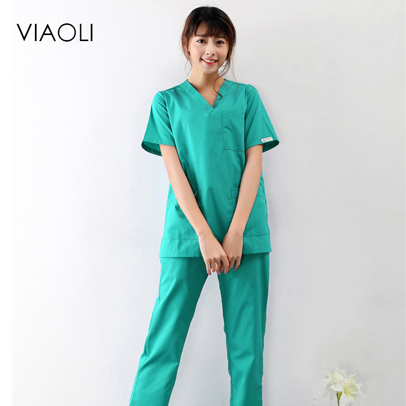 Viaoli 2018 New Summer Short-sleeved Surgical Clothing Men And Women Doctors Suits Split Brush Suit Green Suit