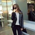 2015 novas mulheres jaqueta de inverno forma magro PU curto casaco Outerwear para mulheres preto jaquetas femininas S-XL transporte rápido