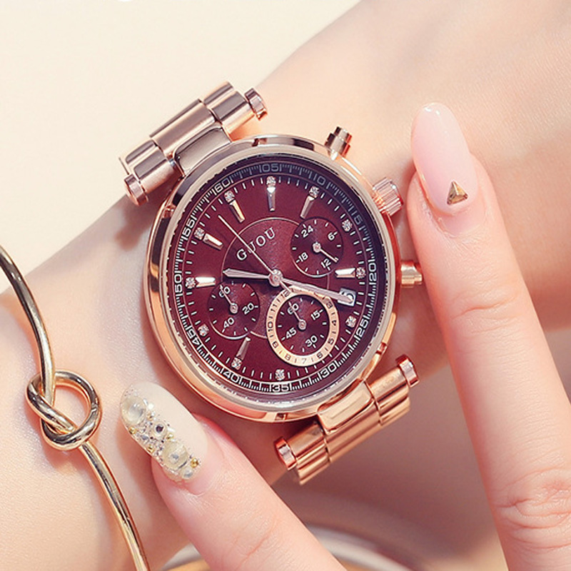 GUOU Women's Watches Calendar Luxury saat Ladies Watch Rose Gold Bracelet Women Watches Clock relogio feminino reloj mujer guou luxury shiny diamond watch women watches rose gold women s watches ladies watch clock saat relogio feminino reloj mujer