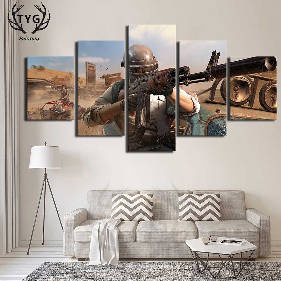 PUBG Eat chicken Figure Group Photo Games 5 Pieces Pictures Posters ...