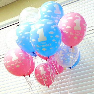 100pcs Pcslot 1 Year Old Baby Shower Balloons Birthday Helium Boy