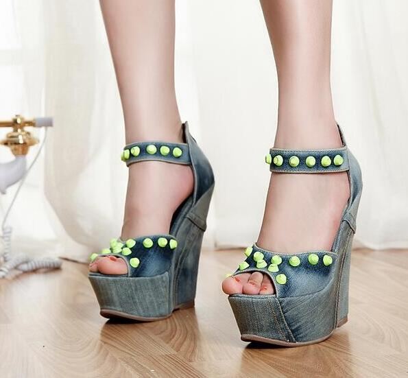 2017 Newest Denim Blue Woman Spiked Sandals Thick Platform High Heels Back Zip Wedges Casual Style Shoes Jeans Zapatos Mujer