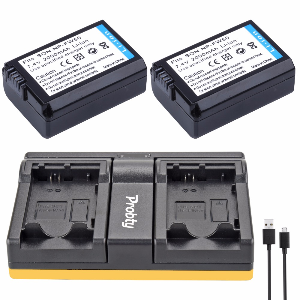 2Pcs NP-FW50 NP FW50 Battery + Dual Charger for SONY A5000 A5100 A7R A6000 5T 5C 3N A7 NEX6 NEX7 NEX5TL NEX5R NEX5N Camera