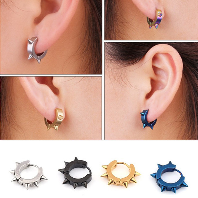 New Cool Male Stainless Steel Clip Earrings Personalized Tide Men Ear Jewelry Rivet Spikes