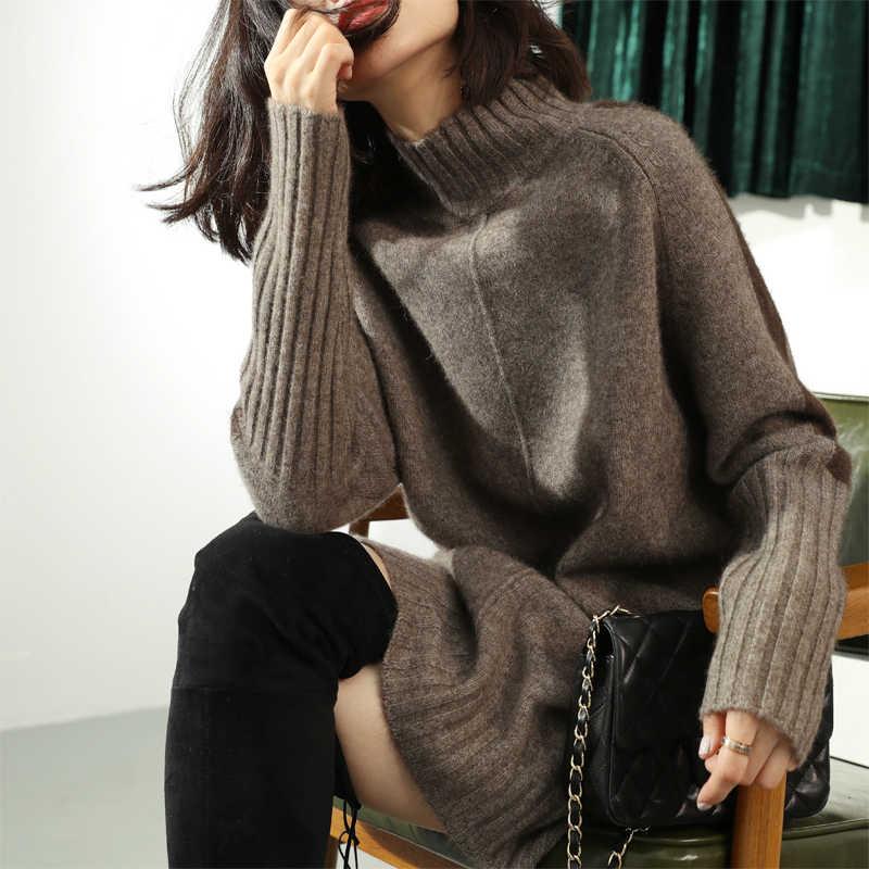 Beliarst 가을, 겨울 새로운 높은 칼라 풀오버 스웨터 여성 긴 섹션 캐시미어 셔츠 가방 엉덩이 분할 느슨한 느슨한 두꺼운