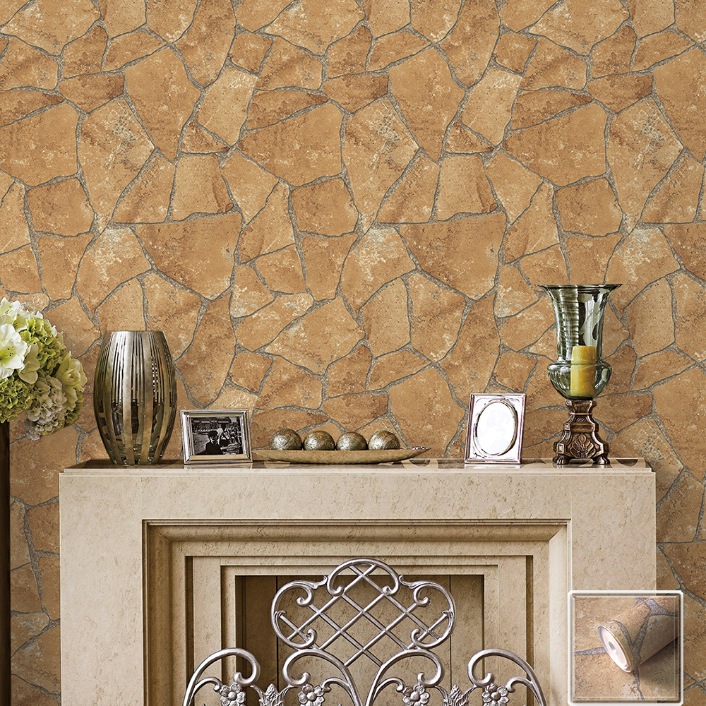 HaokHome Vintage Faux Marble Stone PVC Wallpaper Rolls Sand/Grey 3D Brick Realistic Murals Home Bedroom Living Wall Decoration wall art vintage stone brick tapestry for bedroom