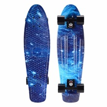 27inch Cruiser Skateboard Graphic Series Galaxy Starry Floral Skate Board Retro Plastic Longboard Complete