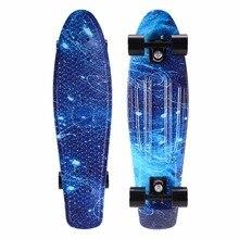 27inch Cruiser Skateboard Graphic Penny Board Galaxy Starry Floral Skate Board Retro Plastic Longboard Complete