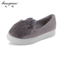 Discount 2017 New Arrival Sweet Style Flat Platform Shoes for Women Flock Round Toe Slip-On Casual Shoes