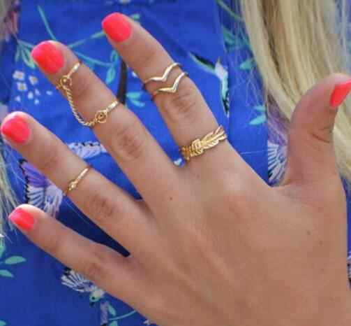 Hot Fashion 6pcs/lot Shiny Punk Style Gold Silver Stacking Band Midi Finger Knuckle Rings Charm Leaf Ring Set for Women Jewelry