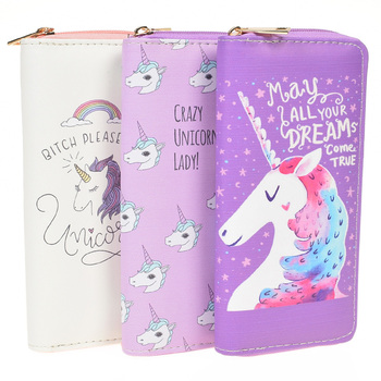 Zipper Wallets For Women With Phone PU Cartoon Unicorn Clutch Purses Small Credit Cards Holder Long Ladies Mini Wallets Women Wallets