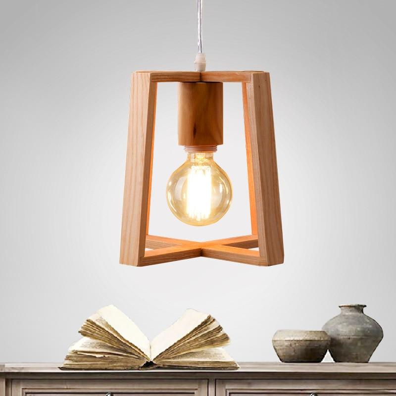 Modern Pendant Light Wood Lamp Restaurant Bar Coffee Dining Room Hanging  Light Fixture E27 With Led