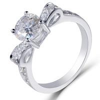 Transgems 14K 585 White Gold 1Ct Center 6.5mm Round Brilliant Lab Created Moissanite Diamond Engagement Rings for Women