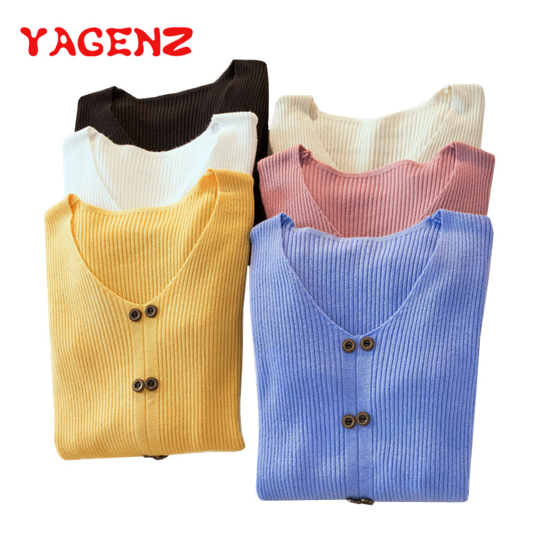 YAGENZ Basic Sweater Jumper Blue Pullovers Women Knit Long-Sleeve Autumn Winter Casual