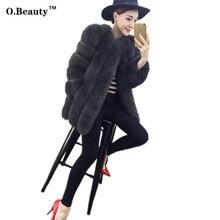 2016 New Winter Warm Fur Coat Fahion Short Women Black Slim Faux Mink Faux Fur Coat Fox Fur Coat Colete Feminino Jackets