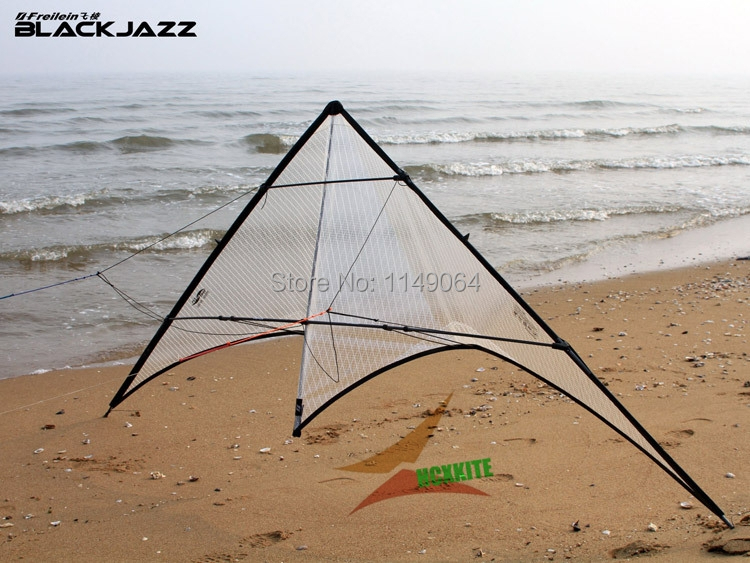 freeshipping high quality blackjazz stunt kite rolling dancing power kites flying Polyester ripstop kitesurf outdoor toys hcx professional stunt kite designs outdoor sport power kite 4 line beach kite with handles flying line string