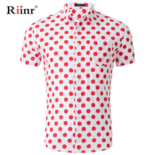 Riinr New Arrival Men Shirt Casual Turn-down Collar Short Sleeves Shirt Spring Summer Polka Dots Shirt Mens Clothing Trend
