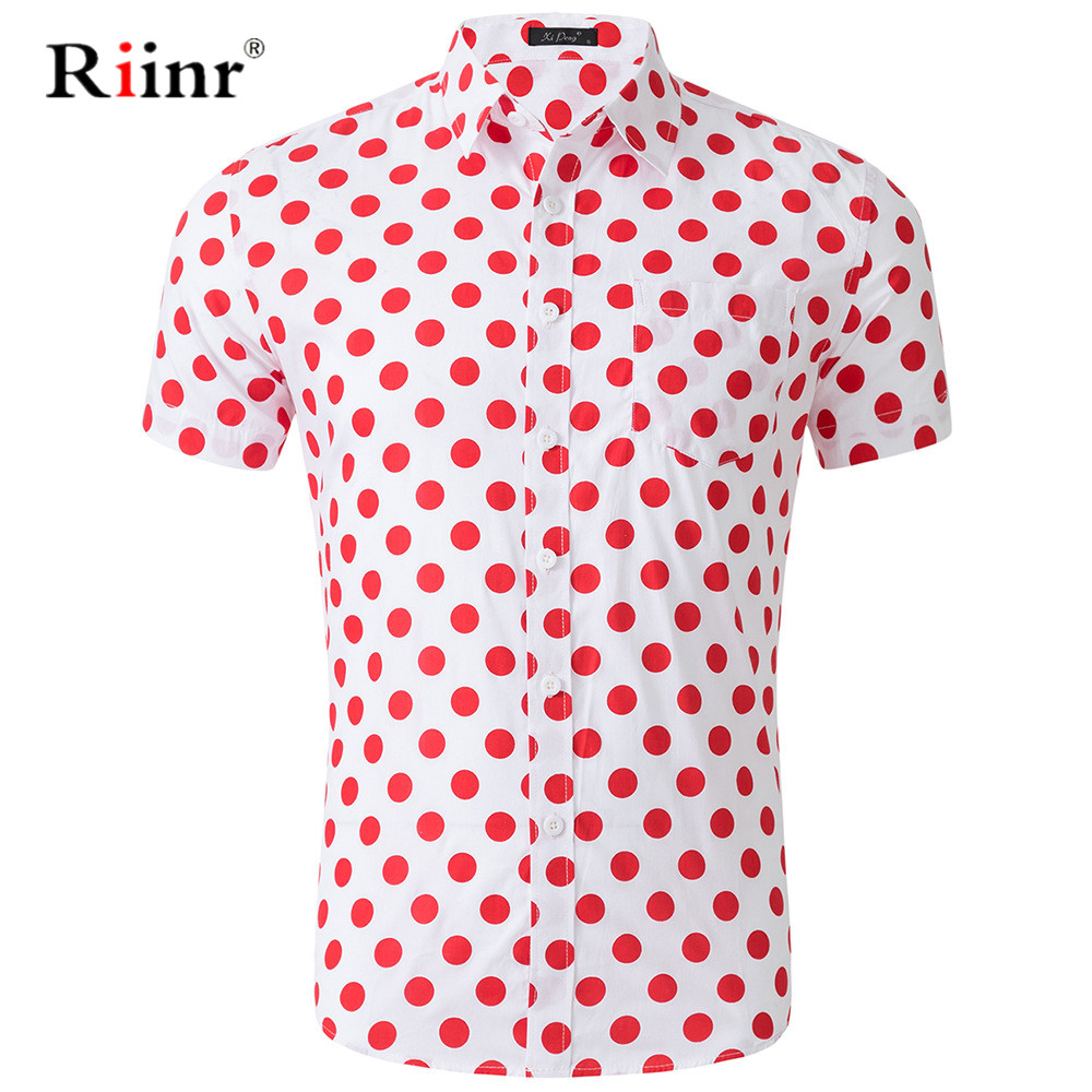 Riinr New Arrival <font><b>Men</b></font> <font><b>Shirt</b></font> Casual Turn-down Collar Short Sleeves <font><b>Shirt</b></font> Spring Summer <font><b>Polka</b></font> <font><b>Dots</b></font> <font><b>Shirt</b></font> <font><b>Mens</b></font> Clothing Trend image