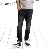 Simwood Jeans Men 2018 Denim Pants Fashion Solid Slim Fit Plus Size Mid Straight New Brand