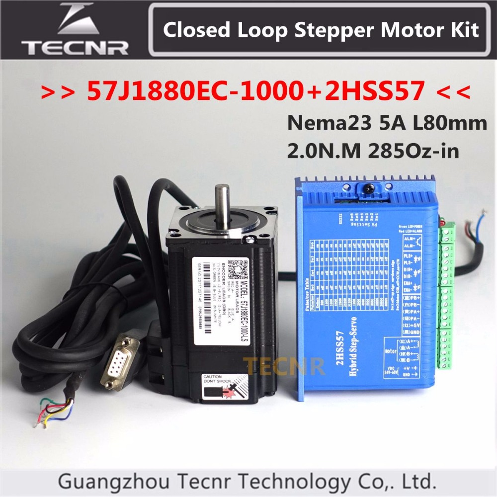 57J1880EC-1000+2HSS57 Nema23 Hybird Closed Loop Stepper Motor Kit 2.0N.m 285Oz-in 2 phase stepper motor driver wantai closed loop step motor 86hbm80 1000 servo motor 9n m nema 86 hybird closed loop 2 phase stepper motor www wantmotor com