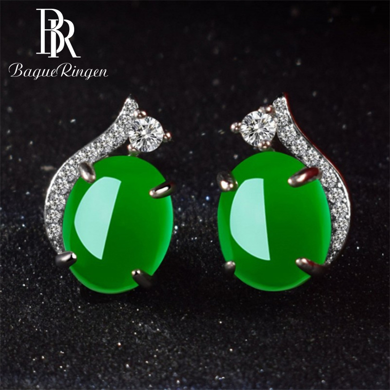 Begua Ringen2019 New Design Green 925 Silver Women Earrings Created  Emerald Gemstone Fine Charm Jewelry For Women