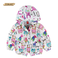 Cartoon Animals Graffiti Girl Hooded Coat&Outerwear New Spring Girls Windbreaker Baby Girl Jacket Kids Clothes Children Clothing