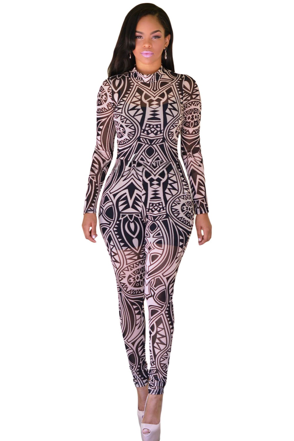 Black Nude Tribal Tattoo Print Sheer Jumpsuit Lc64048-In Jumpsuits From Womens -1945