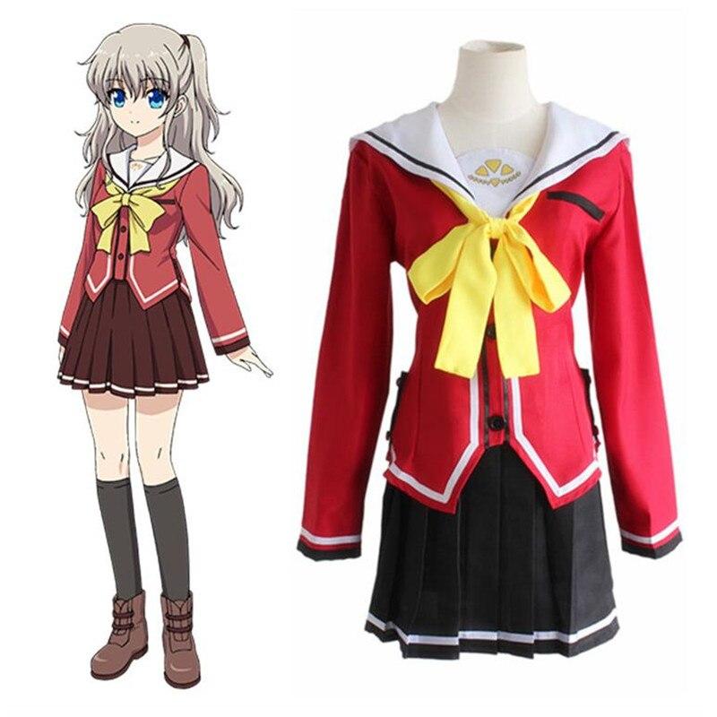 Smart New Anime Charlotte Nao Tomori Red School Uniform Cosplay Costume Women's Costumes Costumes & Accessories