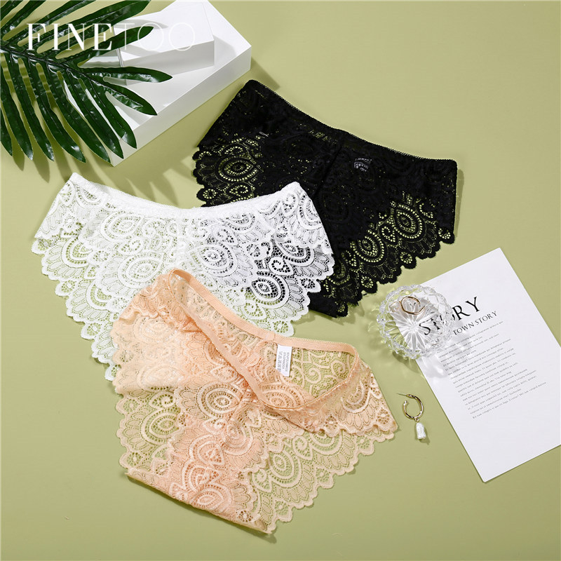 3Pcs/lot Lace   Panty   Set Sexy Transparent Floral   Panties   Fashion Briefs For Women Female Underwear Sets Trendy Ladies Lingerie
