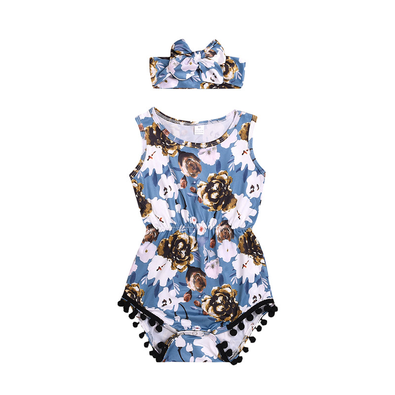 0-24 M Pasgeboren Baby Meisjes Bloem Romper Jumpsuit Hoofdband Outfits Gedrukt Baby Meisjes Kleding Set Blauw Van Het Grootste Gemak