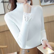 Lace Patchwork Knitted Pullover Women Turtleneck 2018 Autumn Winter Sweaters And Pullovers Female Tricot Jumper Pull Femme