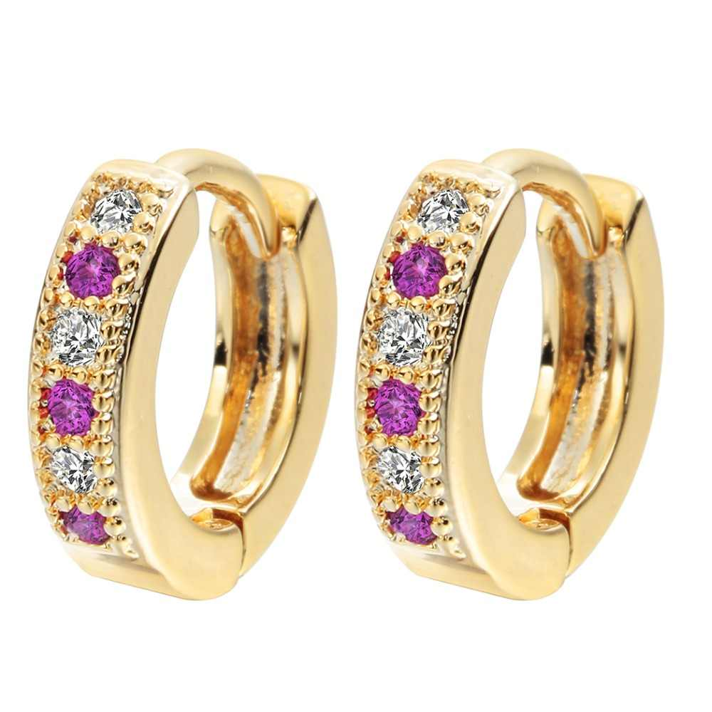 QIAMNI Colorful Classic Baby CC Hoop Earrings For Women Zirconia Earring For Teen Girls Indian Jewelry A1174