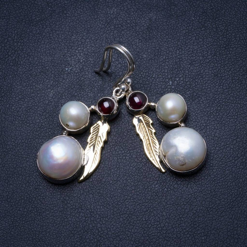 Natural River Pearl and Amethyst Handmade Unique 925 Sterling Silver Earrings 1.75