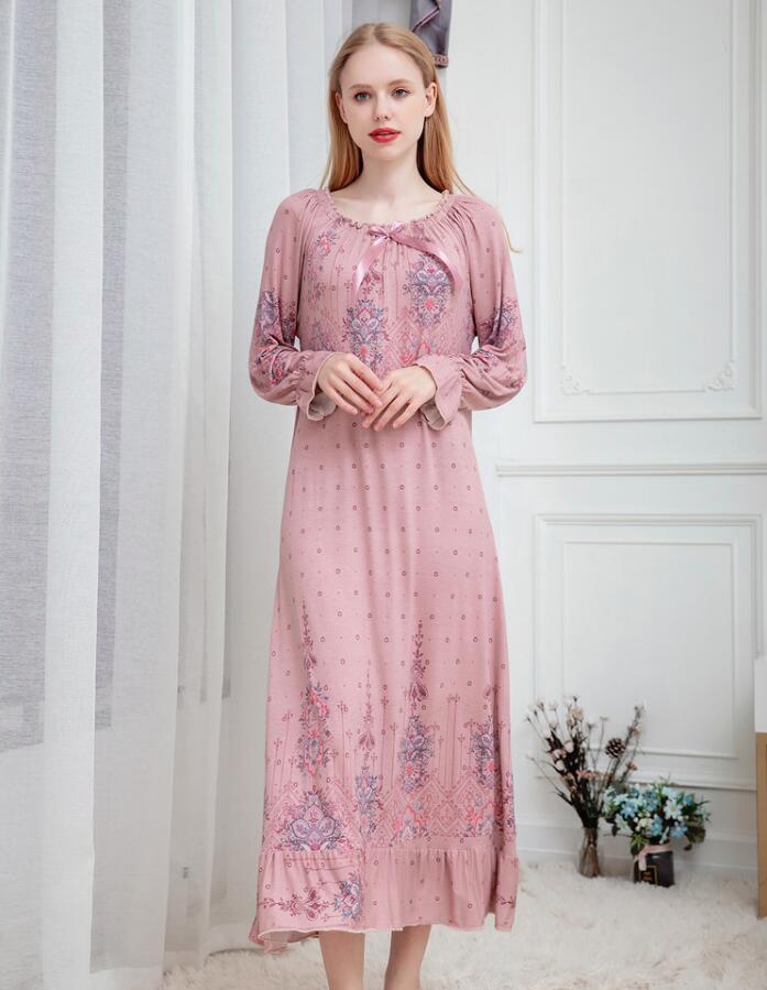 Women M L XL XXL Long Sleeve Printing Modal Cotton Sleepwear Night Dress Pajamas Night Gowns Robes RB300