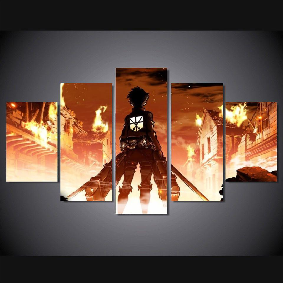Aliexpress com buy 5 pieces canvas art canvas painting 5 panel anime catoon attack on titan eren yeager decoration for home wall prints canvasa201