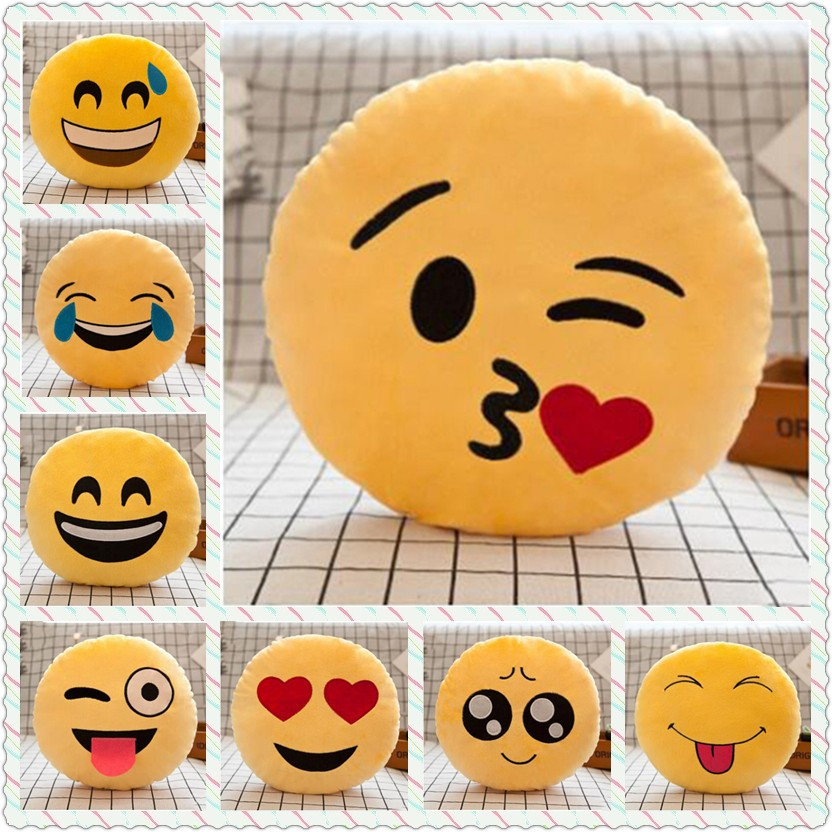 Smiley Face Emoji Pillow Soft Plush Emoticon Round Cushion Home Decor Cute Cartoon Toy Decorative Throw Pillow Kids Gift WG746