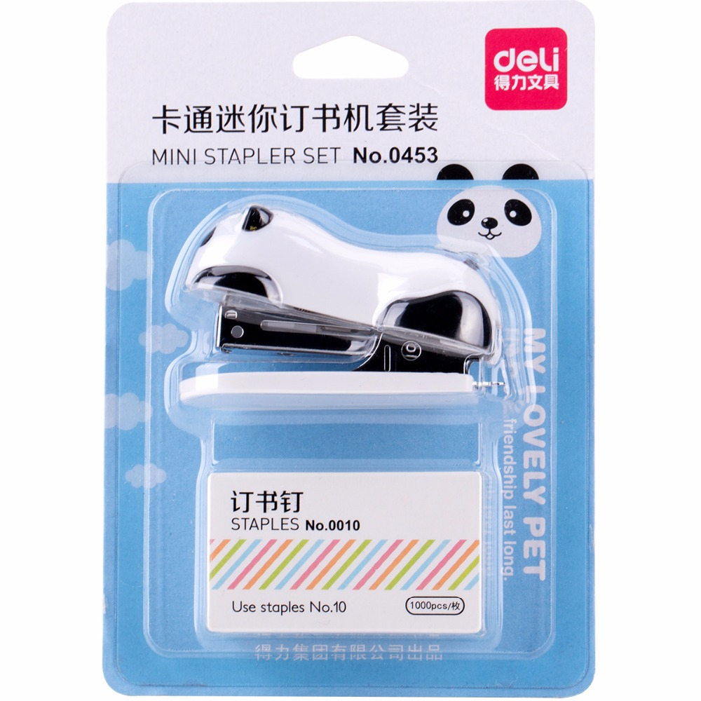 все цены на Mini cartoon stapler with 1000 pcs No.10 staples Chinese Panda manual stapler Stationery Office school binding supplies F784 онлайн