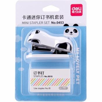 Mini cartoon zszywacz z 1000 sztuk nr 10 zszywki chiński Panda instrukcja zszywacz biurowe biuro szkoła wiążące materiały F784 tanie i dobre opinie VALIOSOPA Metal panda stapler 50 pieces loading 6*4cm 2-12 pieces Mini zszywacz