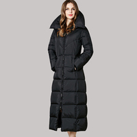 2017 Women Duck Down Jacket Winter Genuine Female Thick Jackets Plus Long Over Knee Length Slim Coat Loose Warm Parkas L0025