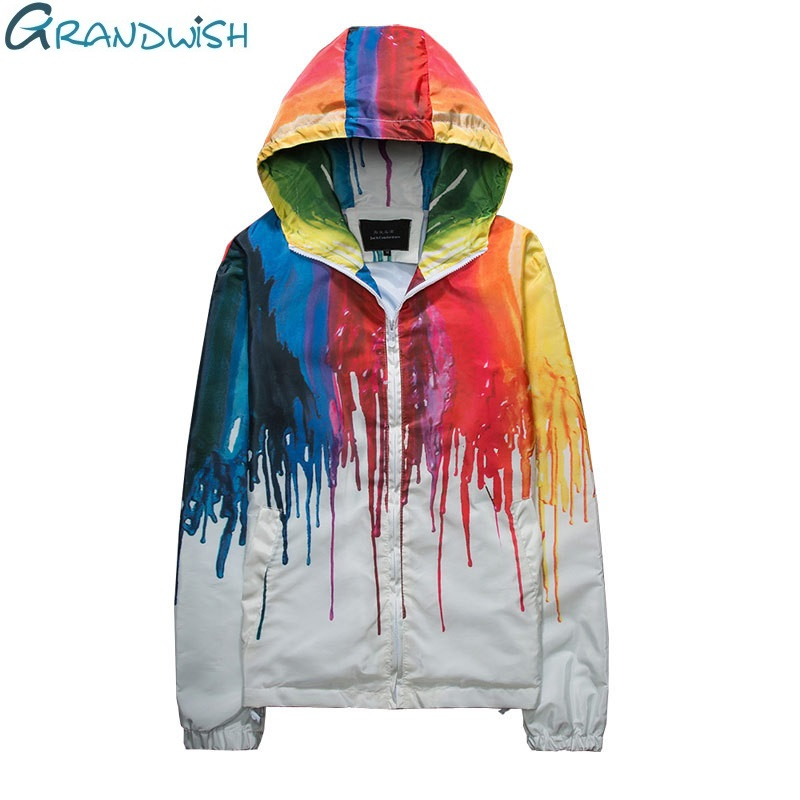 Grandwish Colorful Hooded Windbreaker Jacket Women Men Plus Size 4XL Mens Jackets and Coats Hip Pop Clothes Male Female , DA579