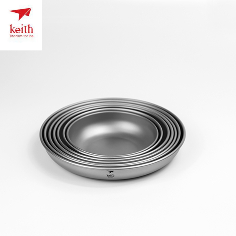 US $10 0 30% OFF|Keith Titanium Plate Camping Titanium Dishes Saucer  Outdoor Tableware Camping Plates Cutlery 150ml 450ml Ti5371 Dropshipping-in