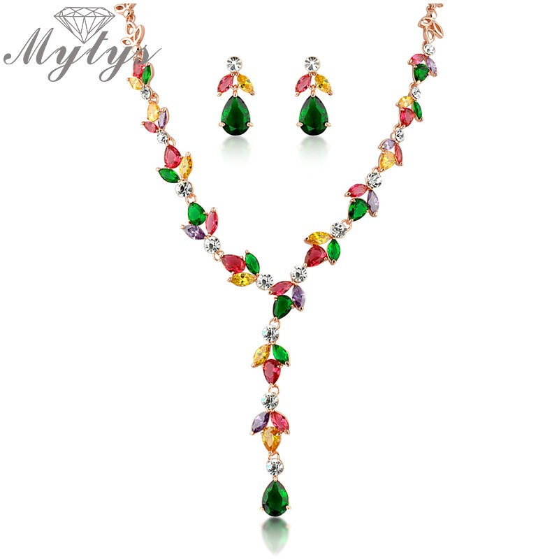 Mytys Colorful Crystal Link Necklace and Green Crystal Drop Earrings High Quality Colorful Crystal Jewelry Sets N367 недорго, оригинальная цена